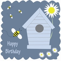 Occasions greetings cards online shopping website for gift large square card bird house happy birthday bookmarktalkfo Gallery